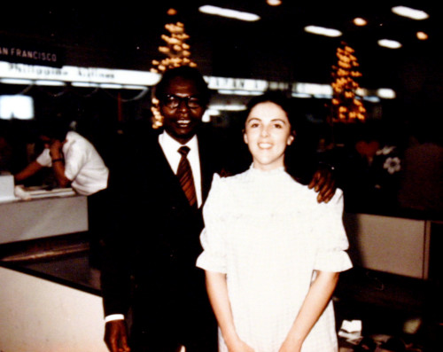 Barack Obama Sr. and Ann Dunham. Dad was not around, mom raised him white.